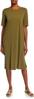 Eileen Fisher Short-Sleeve Calf-Length Side-Slit Jersey Dress