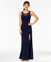 Crystal Doll Juniors' Illusion-Neckline A-Line Gown