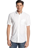 White Collar Short Sleeve Button Down Mens Shirt - ShopStyle