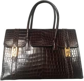 Hermes Drag Brown Crocodile Handbags