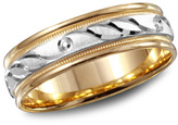 Zales 6.0mm 10K Two-Tone Gold Loop Wedding Band