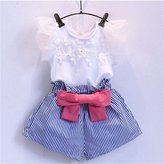 Careesoffe Cute Girls Lace T-shirt + Stripe Bowknot Shorts Outfits Clothes 2Pcs/Set 100?2-3Y)