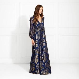 Rachel Zoe Lennon Art Deco Metallic Fil Coupe Maxi Dress