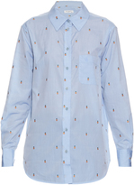 Equipment Kenton pineapple-embroidered cotton shirt