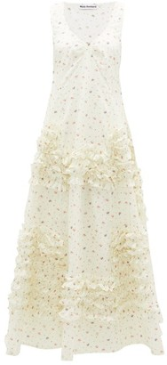Molly Goddard Serena Frilled Godet-hem Floral-print Cotton Dress - Cream Print