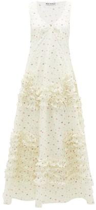 Molly Goddard Serena Ruffled Godet-hem Floral-print Cotton Dress - Womens - Cream Print