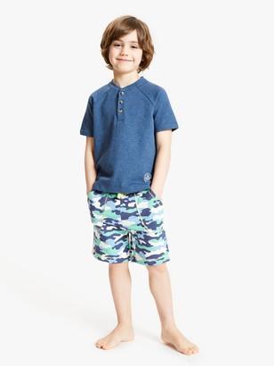John Lewis & Partners Boys' Camouflage Short Pyjamas, Blue