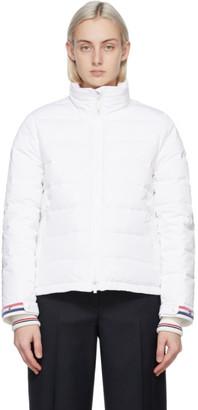 Thom Browne White Down RWB Funnel Neck Jacket