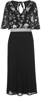 Frock and Frill Fionn Cape Sleeve Embroidered Midi Dress