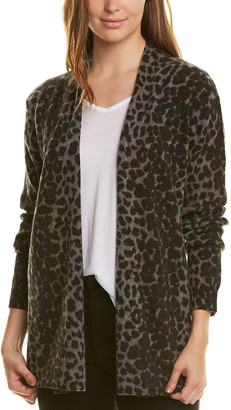 Amicale Cashmere Leopard Waterfall Cardigan