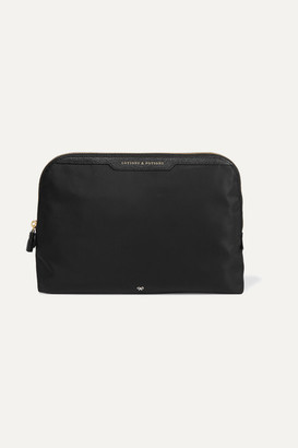 Anya Hindmarch Lotions And Potions Leather-trimmed Shell Cosmetics Case - Black