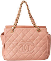 Chanel Pink Quilted Caviar Leather Matrasse Chain Tote