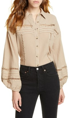 Free People Summer Stars Button Front Shirt