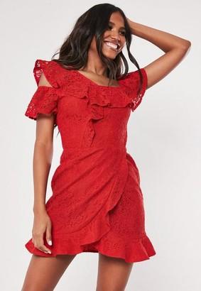 Missguided Lace Bardot Button Side Frill Tea Dress