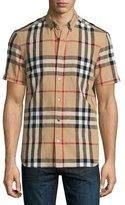 Burberry Elfords Check Short-Sleeve Shirt, Camel