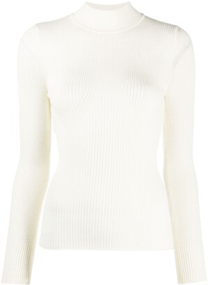 Alberta Ferretti Ribbed Mock-Top Top
