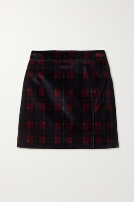Bella Freud Checked Cotton-velvet Mini Skirt - Burgundy