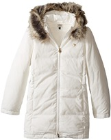 Armani Junior Down Puffer with Faux Fur Trim Girl's Coat