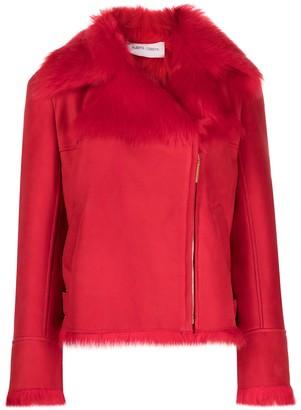 Alberta Ferretti Faux-Fur Trimmed Leather Jacket