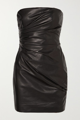 Versace Strapless Ruched Leather Mini Dress - Black