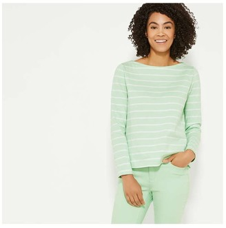 Joe Fresh Women's Stripe Boatneck Top, Pale Green (Size XL)