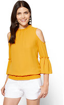 New York & Co. Ruffled Cold-Shoulder Blouse