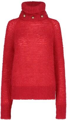 Balmain Button Embellished Turtleneck Sweater