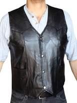 Dona Michi Men's Motorcycle Vest Genuine patchs Leather syle 950P_xxl