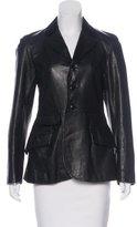 Ralph Lauren Leather Long Sleeve Blazer