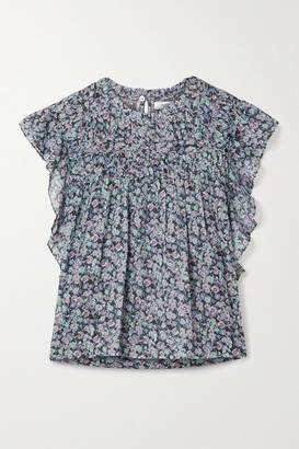Etoile Isabel Marant Layona Ruffled Floral-print Cotton-voile Blouse - Blue
