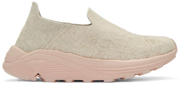 Diemme Beige and Pink Suede One Slip-On Sneakers