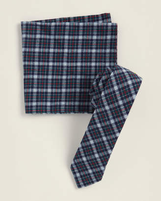 Original Penguin Two-Piece Hanta Plaid Pattern Tie & Pocket Square Set
