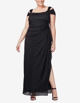Alex Evenings Long Cold Shoulder Dress in Black Glitter Size 14W