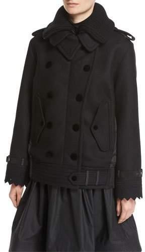 Moncler Clarissa Double-Breasted Mixed-Media Coat, Black