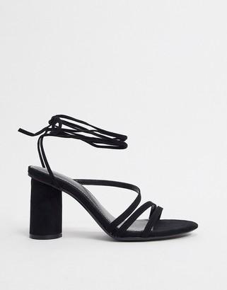 Bershka heel with ankle tie in black