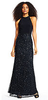 Adrianna Papell Jersey Mock Neck Sequin Gown