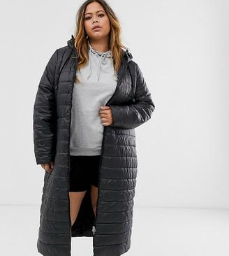 Junarose longline padded jacket-Black
