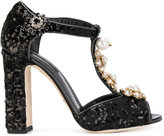 Dolce & Gabbana sequinned Mary Jane pumps with floral jewel embellishments