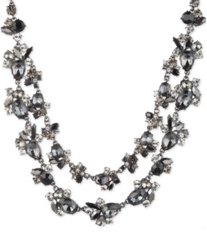 """Givenchy Hematite-Tone Jet Stone Two-Row Necklace, 16"""" + 3"""" extender"""