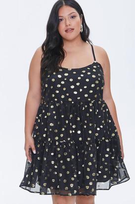 Forever 21 Plus Size Metallic Spotted Mini Dress