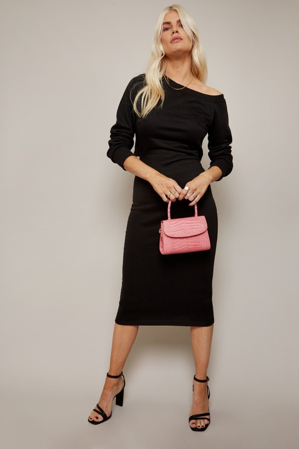 Thumbnail for your product : Little Mistress Alec Black Slash-Neck Midi Sweatshirt Dress