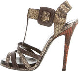 Roger Vivier Snakeskin Ankle Strap Sandals