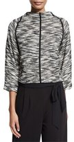 Joan Vass Tweed 3/4-Sleeve Pullover Sweater, Black/Ivory