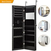 Jewelry Cabinet Armoire with Mirror Led Light Wall Door Mounted Organizer Storage,Black
