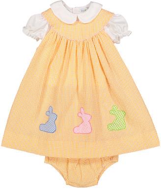 Petit Pomme Girls' Casual Dresses ORANGE - Orange Seersucker Yoke Dress & Peter Pan Collar Top - Infant