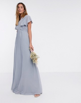 TFNC bridesmaid lace detail maxi dress with flutter sleeve in dusty blue
