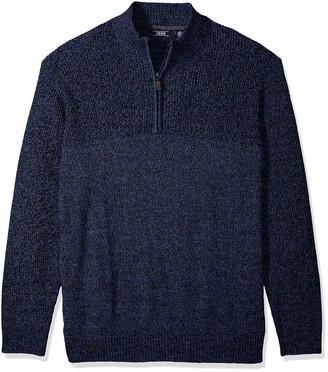 Izod Men's Big Fit Newport Marled Quarter Zip 7 Gauge Textured Sweater