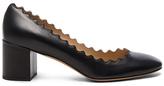 Chloé Lauren Leather Scallop Pumps in Black.