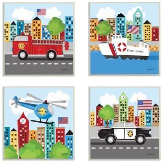 The Kids Room by Stupell Fun Cartoon Metro Vehicle Heroes Set of 4 3pc Wall Plaque Art Set, 12 x 0.5 x 12
