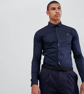 Farah Smart Swinton skinny smart poplin shirt with stretch in navy Exclusive at ASOS